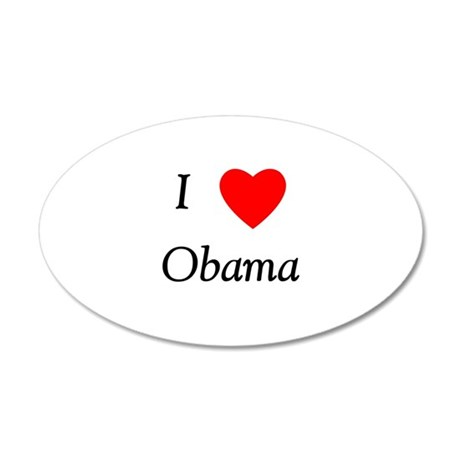 I Love Obama 20x12 Oval Wall Decal