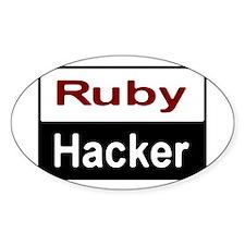 Ruby hacker Sticker (Oval)