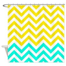 Yellow and aqua chevrons Shower Curtain