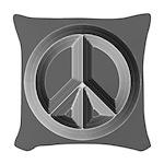 Silver Peace Sign Woven Throw Pillow