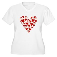 Hand drawn scribble heart Plus Size T-Shirt