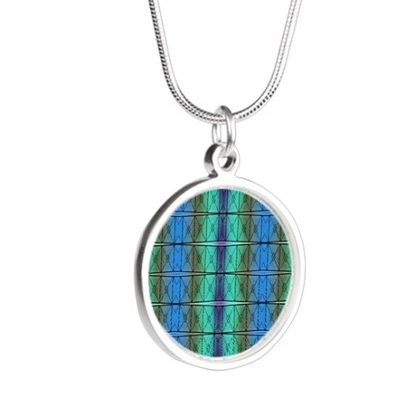 Colorful green blue abstract Silver Round Necklace
