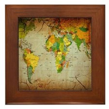 World Map V Framed Tile