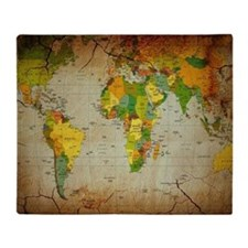 World Map V Throw Blanket