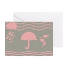 Pink Umbrella Grey Greeting Cards