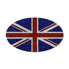 Glitters Shiny Sparkle Union Jack Flag Oval Car Ma