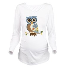 Owl With Flowers Long Sleeve Maternity T-Shirt