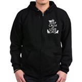Keep calm and love cats Zip Hoodie (dark)