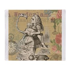Alice in Wonderland Flamingo Throw Blanket