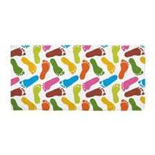 Colorful Footprints on White Background towel Beac