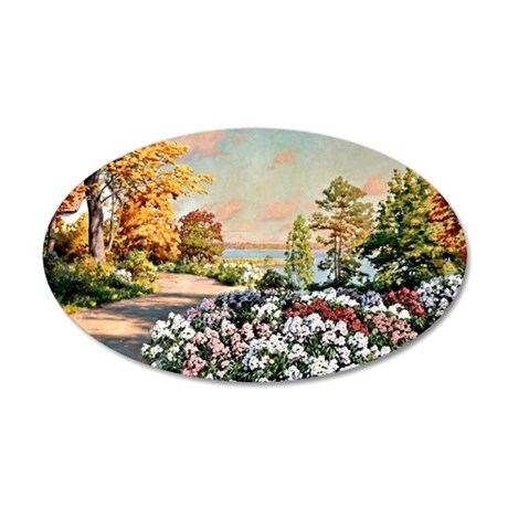 Krouthen - Autumn by the Lak 35x21 Oval Wall Decal