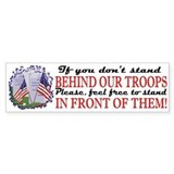 Behind Our Troops Bumper Car Sticker