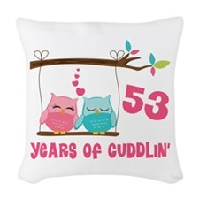 53rd Anniversary Owl Couple Woven Throw Pillow
