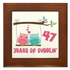 47th Anniversary Owl Couple Framed Tile