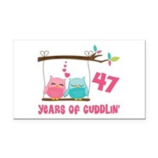 47th Anniversary Owl Couple Rectangle Car Magnet