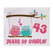 43rd Anniversary Owl Couple Throw Blanket