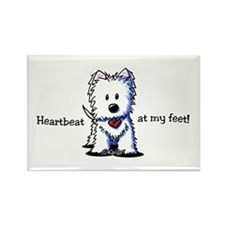Westie Heartbeat Rectangle Magnet
