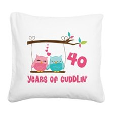 40th Anniversary Owl Couple Square Canvas Pillow