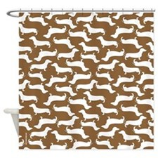 Cute Dachshund Pattern Shower Curtain