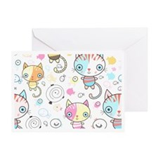 Cute Kittens and Fish Greeting Card