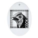 Graphic Cock Oval Ornament