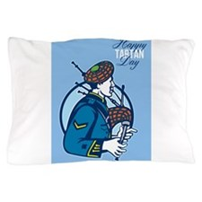 Happy Tartan Day Bagpiper Greeting Card Pillow Cas
