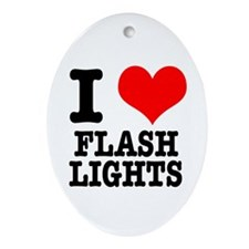 I Heart (Love) Flashlights Oval Ornament