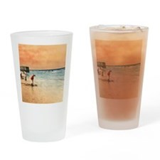 Day at the Beach Vintage Fine Art Drinking Glass
