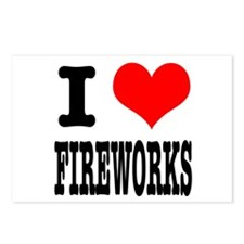 I Heart (Love) Fireworks Postcards (Package of 8)