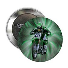 "Dirt biker blasting thru green 2.25"" Button (10 pa"