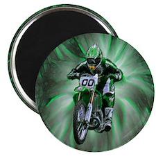 "Dirt biker blasting thru green 2.25"" Magnet (10 pa"