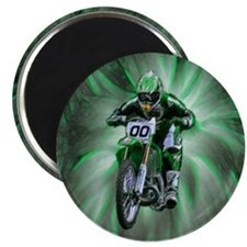 Dirt biker blasting thru green Magnet
