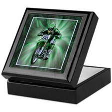 Dirt biker blasting thru green Keepsake Box