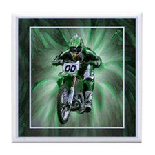 Dirt biker blasting thru green Tile Coaster