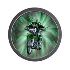 Dirt biker blasting thru green Wall Clock