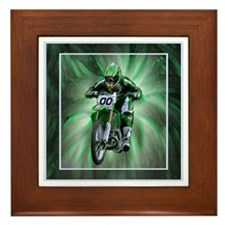 Dirt biker blasting thru green Framed Tile