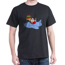 Santa Claus Flying Plane to Deliver P T-Shirt