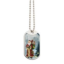 Santa Claus In The Forest Dog Tags