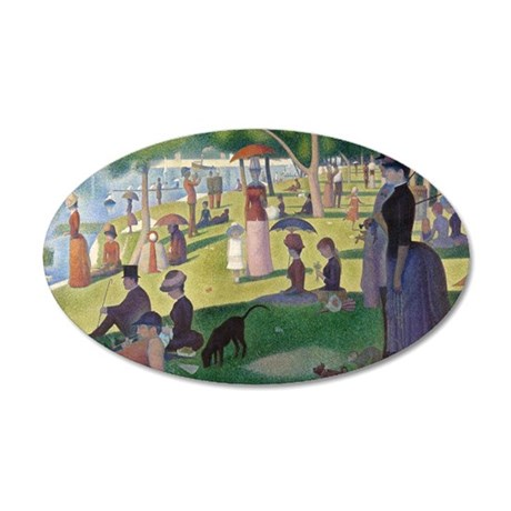 Island of La Grande Jatte 35x21 Oval Wall Decal