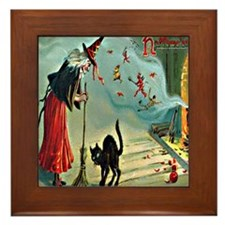 Vintage Halloween Witch Black Cat Framed Tile