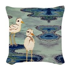 Love Snowy Plovers Love Shore  Woven Throw Pillow