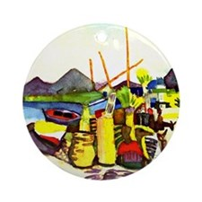 August Macke - Landscape near Hamma Round Ornament
