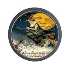 Vintage Halloween Witch Broom Full Moon Wall Clock