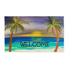 welcome tropical sunset 3'x5' Area Rug