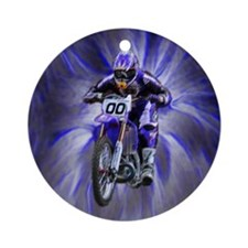 Dirt biker blasting thru blue Ornament (Round)