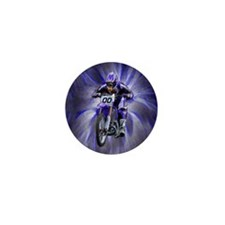 Dirt biker blasting thru blue Mini Button (10 pack