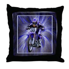 Dirt biker blasting thru blue Throw Pillow