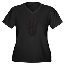 Rabaa rabia  Women's Plus Size V-Neck Dark T-Shirt