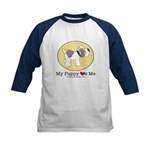 My Puppy Loves Me Kids Blue Collar Baseball Jersey