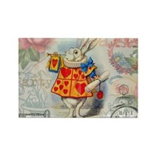 White Rabbit of Hearts Magnets